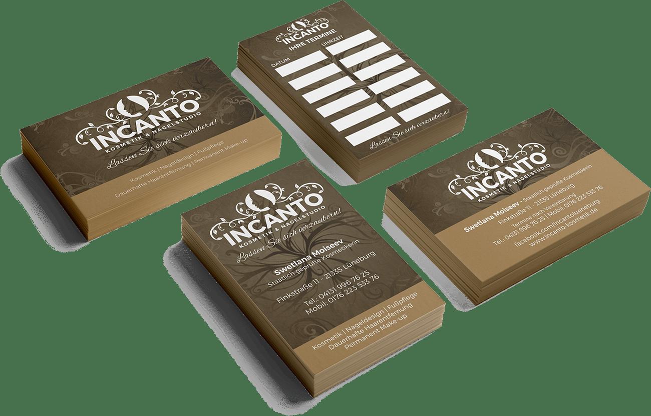 Incanto Terminkarten und Visitenkarten