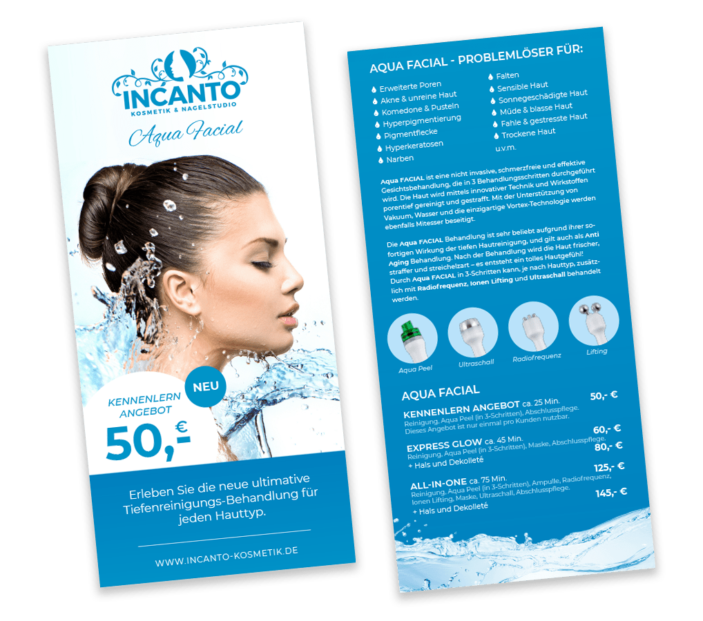 Incanto Aqua Facial Flyer